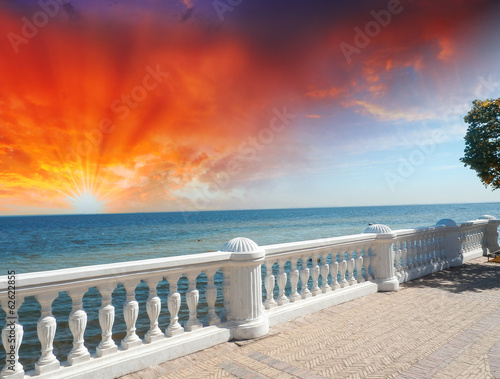 Fototapeta Wonderful stone balcony with great ocean view
