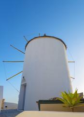 Greece Santorini island in cyclades famous windmills in Fira