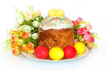 photo on the Easter theme with cake and flowers
