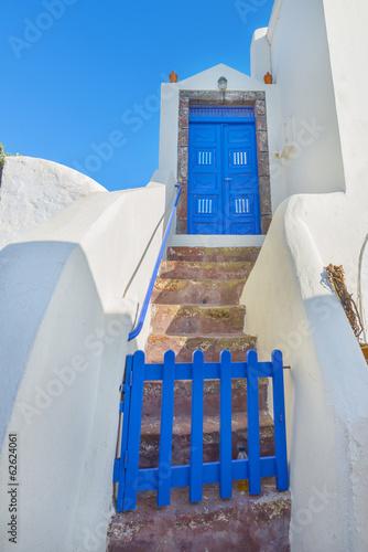 Staande foto Athene Greece Santorini island in Cyclades, closeup view of wooden fram