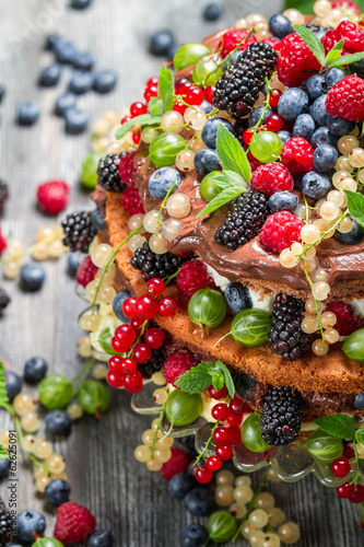 Cake made of wild fresh berry fruits