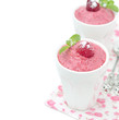 Raspberry mousse decorated with mint, fresh raspberries isolated