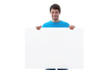 Smiling man keeping board