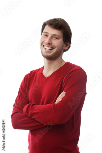 Smiling man with founded hands