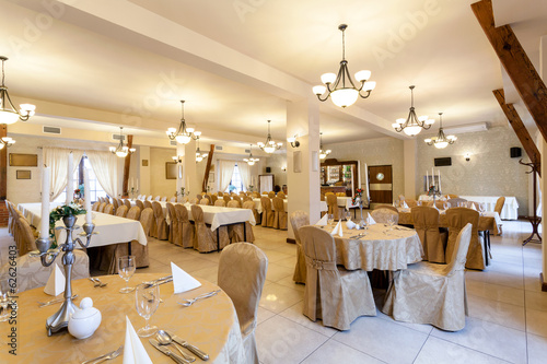 Elegant restaurant room before wedding