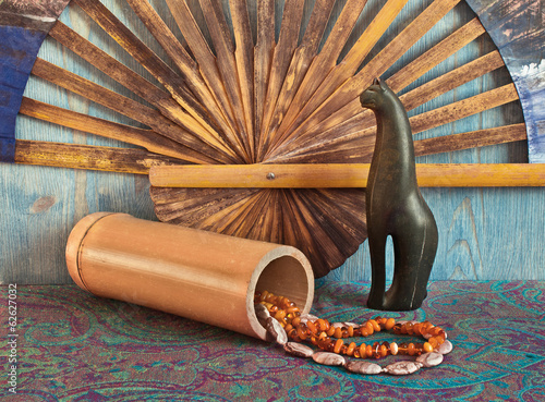 exotic background with sacred Egyptian cat