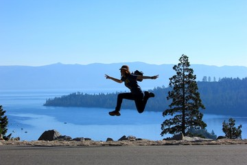 Jump in the air over Lake Tahoe in summer