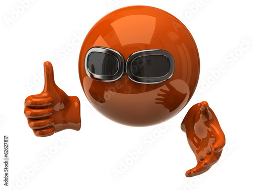 Orange sphere with sun glasses and hand showing thumbs up
