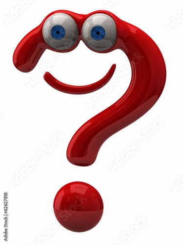 Illustration of happy red question mark