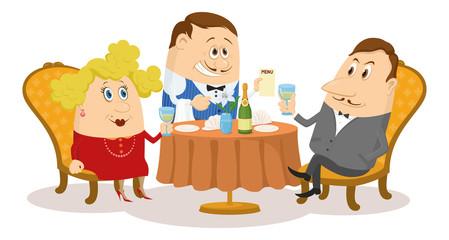 Restaurant, couple near table, isolated