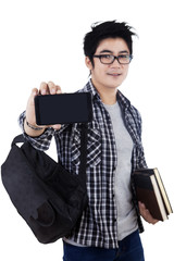 Male student showing mobilephone