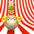 Kadomatsu On Smile Sheep's Head On Striped Pattern Text Space