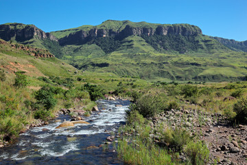 Mountain with flowing river, Drakenberg mountains