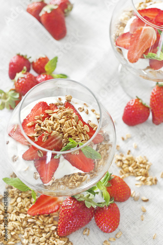 Yogurt with granola and strawberry