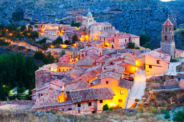 spanish mountains town in evening. Albarracin
