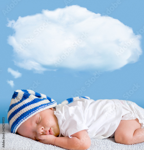 sleeping baby closeup portrait with dream cloud for image or tex