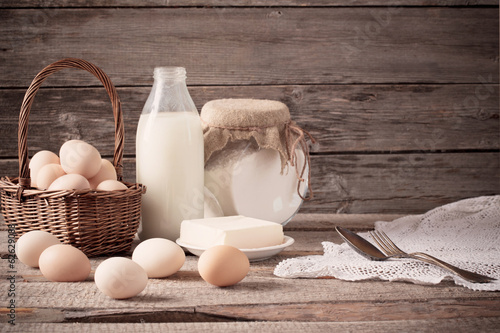 food on wooden background