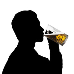 Silhouette man drink beer