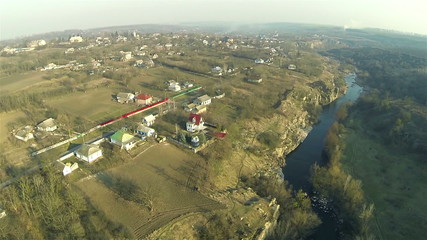 Rural landscape with  river in sunny day. Aerial