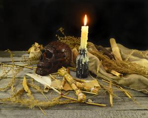 Halloween voodoo still life with skull