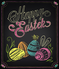Vintage Happy Easter card with colored eggs. Freehand drawing