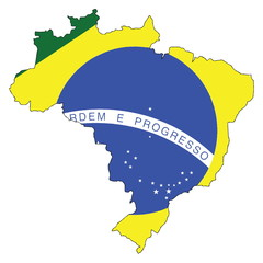 Brazil Map and Flag, Vector Illustration EPS 10.