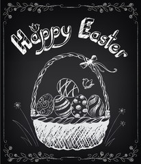 Vintage Happy Easter card with basket and eggs