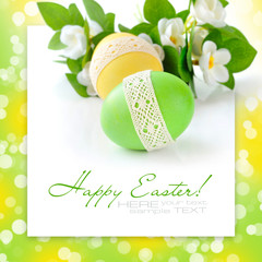 Colorful Easter Eggs on white background (with sample text)