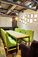mpty meeting room and conference table