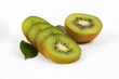 Fresh kiwi with slices and leaves