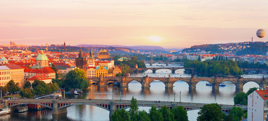 Prague, view of the Vltava River  in summer evening