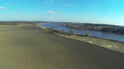 beautiful lake and fields in rural areas. Aerial