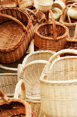 Traditional wreathed baskets in the handicraft mart