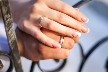 Newlywed's Hands with Rings