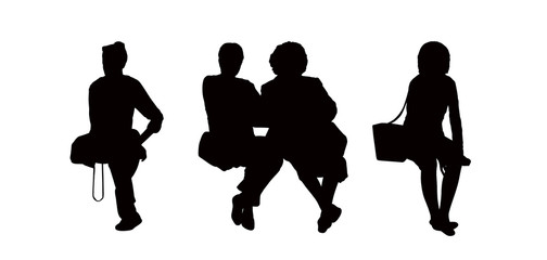 people seated outdoor silhouettes set 9