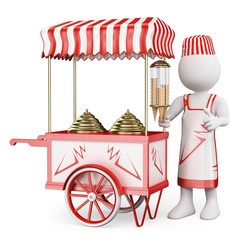 3D white people. Traditional ice cream cart