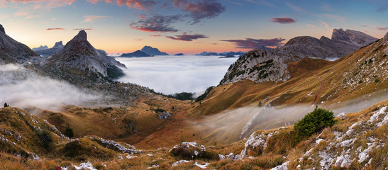 Beautiful summer landscape in the mountains. Sunrise - Italy Dol