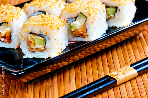delicious traditional Japanese rolls close-up