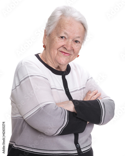 Old woman with crossed hands