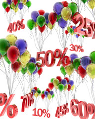 3d abstraction of discounts on balloons