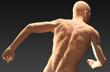 Uomo in corsa di schiena