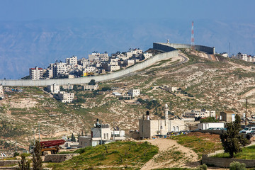 Palestinian town behind separation wall in Israel.