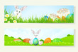 Set of Easter Banners with Decorated Eggs