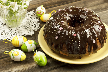 Easter composition with tasty cake