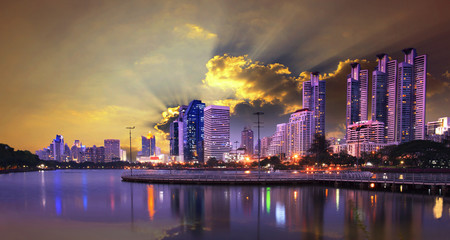 beautiful dusky sky  landmark  of bangkok  thailand