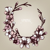 Vector spring frame  with hand drawn blooming fruit tree twig