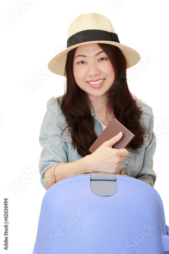 isolated smart woman  with a luggage