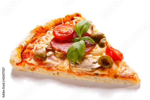 Foto op Aluminium Restaurant Pizza on white background