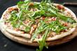 Pizza Margherita with Fresh Arugula Leaves