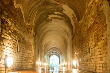 Footpath tunnel in Temple of Thailand